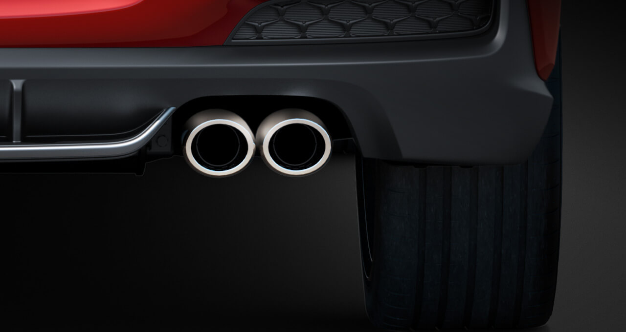 Twin exhaust pipes